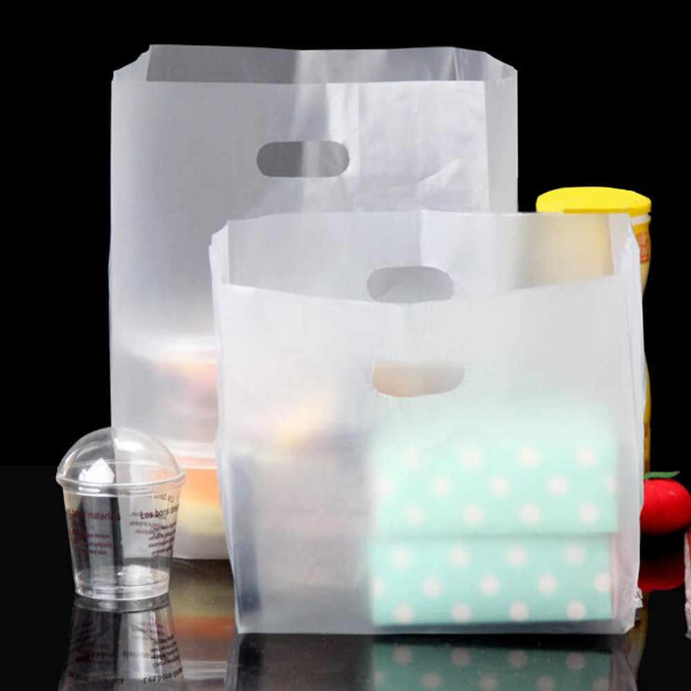 Matte Clear Plastic Handle Bags Lunch Take-Out Food Package Poly Bag Frosted Transparent Gift Box Takeout Plastic Packing Bags