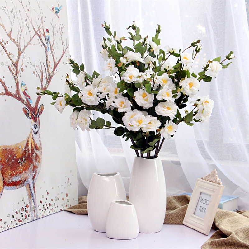 White Ceramic Inserted Ceramic White Tabletop Vase Home Decoration Vase Fashion Modern French Palace Classic Vases in Vases from Home Garden