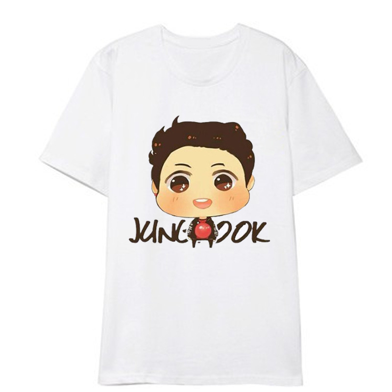 ONGSEONG Kpop BTS Cartoon Image Album Fan Club Shirts HipHop Casual Loose Clothes Tshirt T Shirt Short Sleeve Tops T-shirt DX810