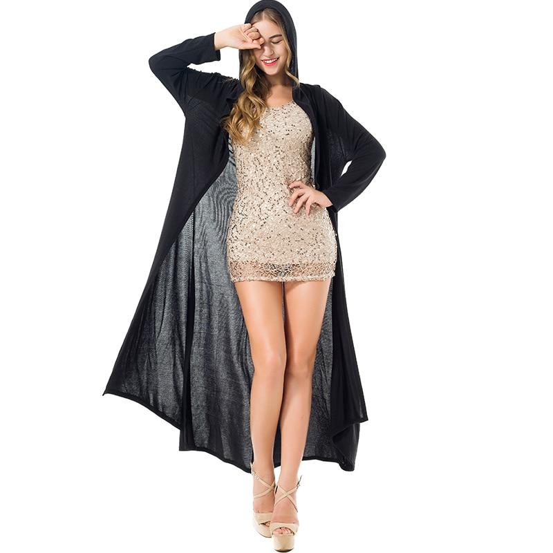 드롭 큰 사이즈 2019 패션 새로운 얇은 긴 카디건 여성 두건이 맥시 오픈 스티치 스웨터 코트 비대칭 outwear