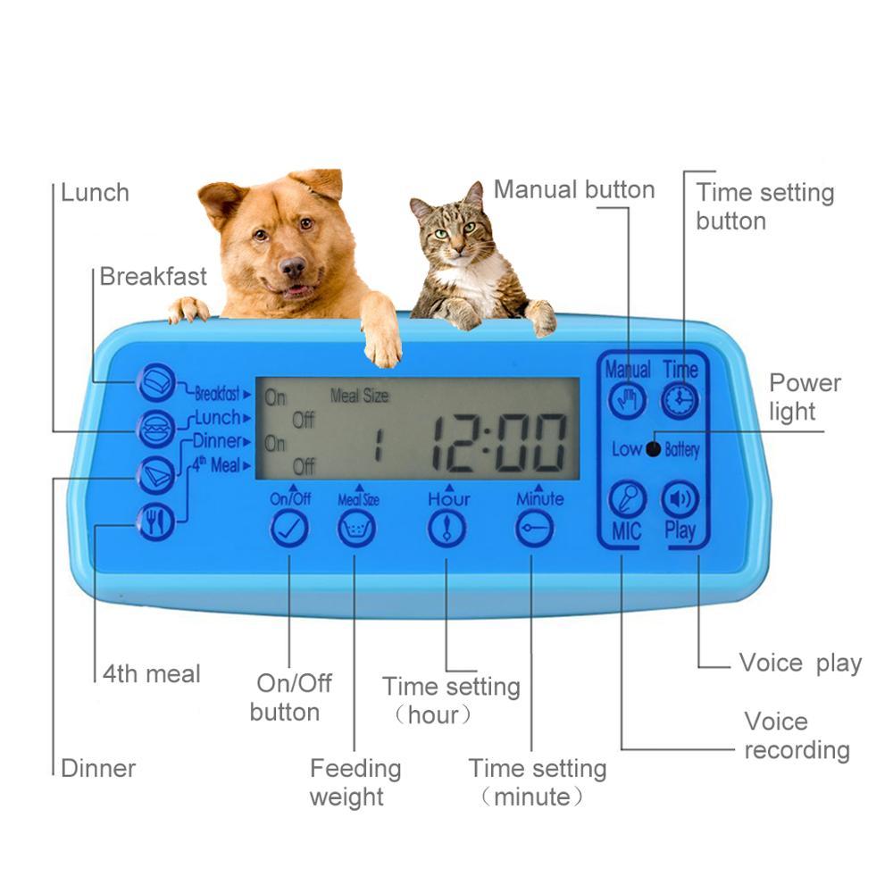 Isseebiz 자동 애완 동물 피더 개 고양이 음성 레코드가있는 음식 디스펜서 알림 타이머 프로그래밍 가능한 배포 알람 ir 감지-에서강아지 먹이부터 홈 & 가든 의  그룹 2