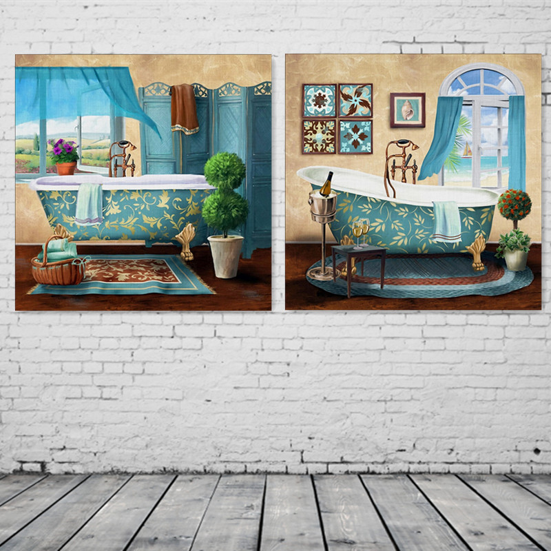 2pcs set bathroom toilet luxury bathtub modern canvas for Art painting for home decoration