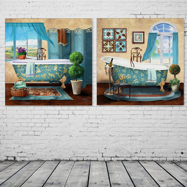 2pcs Set Bathroom Toilet Luxury Bathtub Modern Canvas Painting Home