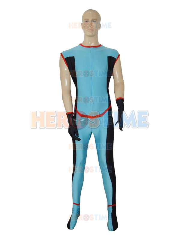 New Custom Made Blue Superhero Suit Lycra Spandex Zentai Catsuit for Halloween and Cosplay Party Costumes with Free Shipping
