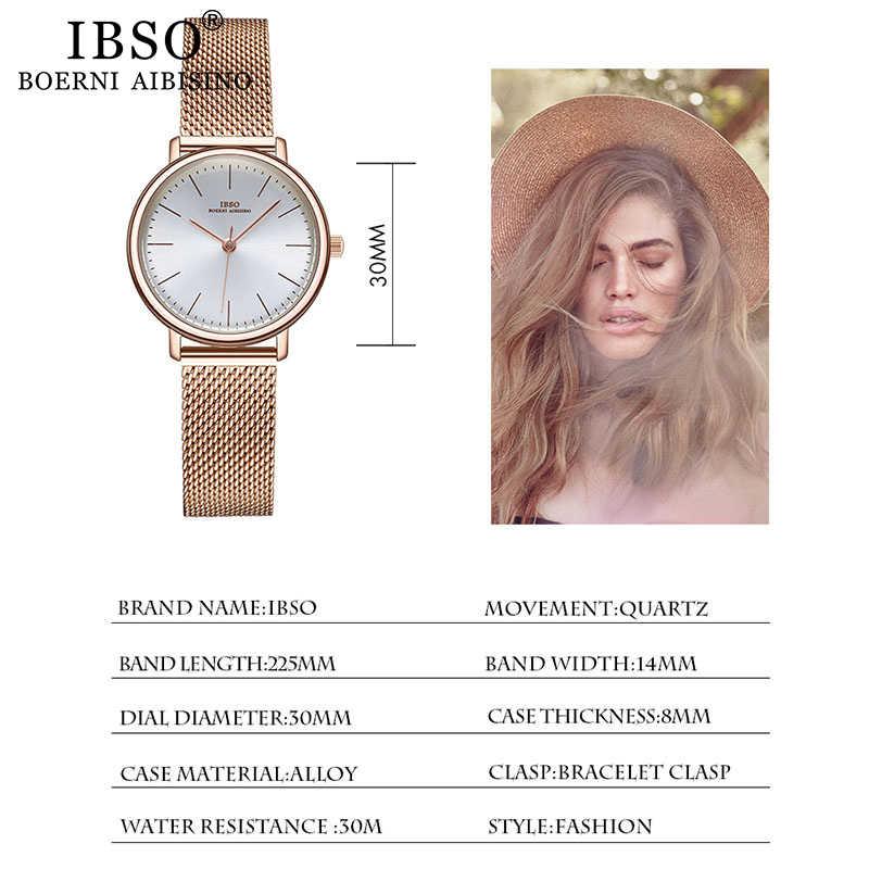 IBSO frauen Quarz Uhren Rose Gold Ultra dünne Edelstahl Mesh-Armband Quarz Uhr Stunden Damen Einfache Relogio Masculino