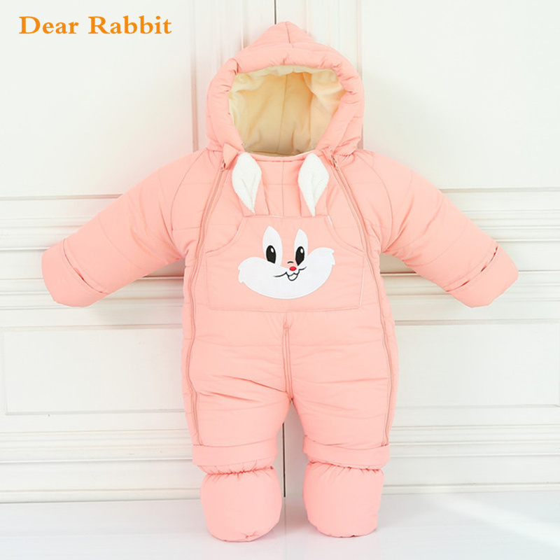 30 degrees cold Winter warm Baby girl Clothes 2018 New born Style Baby Rompers Baby Boys Jumpsuits cute Cartoon Infant Overalls