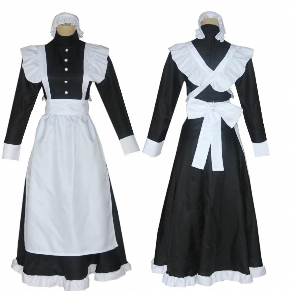 Платье горничной в британском стиле для костюмированной вечеринки, аниме, кафе, длинное платье, черно белое платье горничной, мужской костю