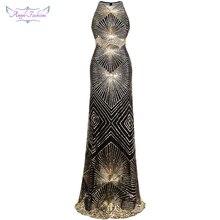 Angel fashions Twinkling Golden Sequin Gatsby Flapper Court Train Maxi Evening Dress 402