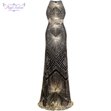 Anjo fashions cintilante ouro lantejoulas gatsby flapper tribunal trem maxi vestido de noite 402