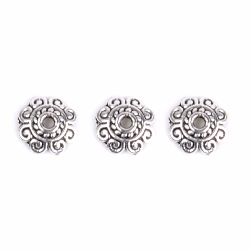 Tibetan Silver Flat Flower Spacer Beads Loose Accessories Jewelry Findings 7x2mm