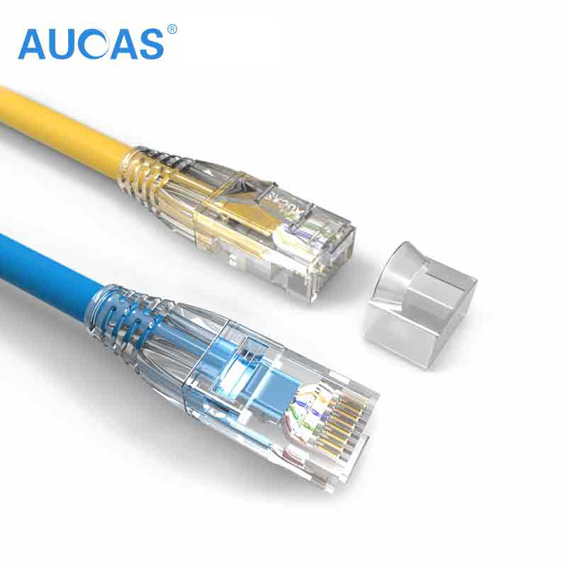 AUCAS 0.5M 1M 2M 3M 5M Red UTP CAT5E Cable RJ45 UTP Cable Ethernet Lan Cable Cable red sin apantallar terminal cat5e modular