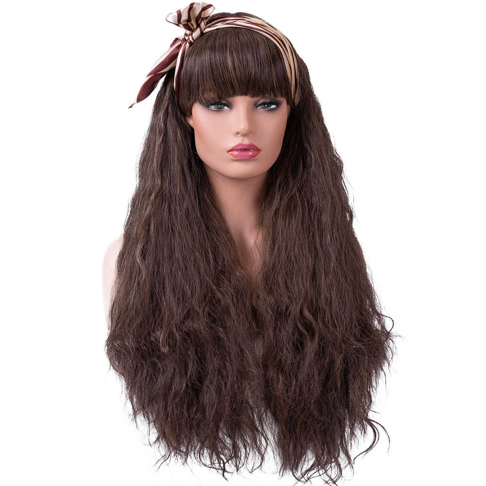 BESTUNG Long Yaki Kinky Fluffy Wigs for Women Ladies Synthetic Full Hair Natural Light Brown Curly Wavy Wig with Flat Bangs for