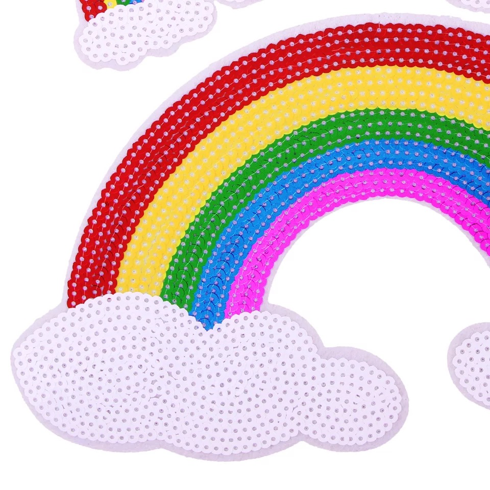 Embroidery Applique Patch Sew Iron Badge Sequin Small Rainbow Iron On