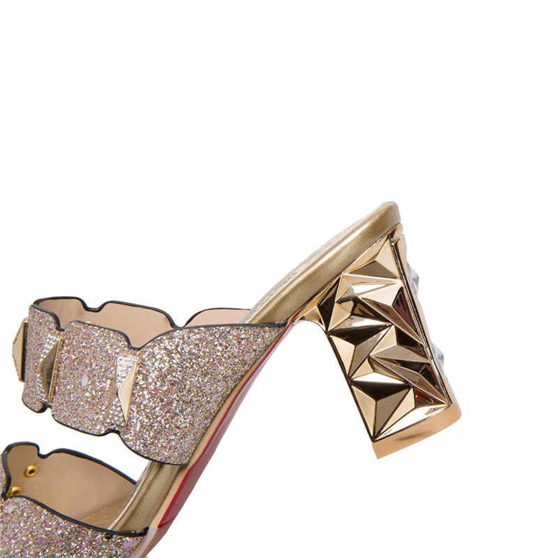 YAERNI 2019new arrive femmes sandales simple peu profonde chaussures d'été mode confortable 7 cm chaussures à talons carrés grande taille 34-46E877