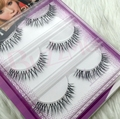3pairs/lot GM12 3D silk false eyelashes 100% Handmade transparent plastic clear band thick faux mink lashes