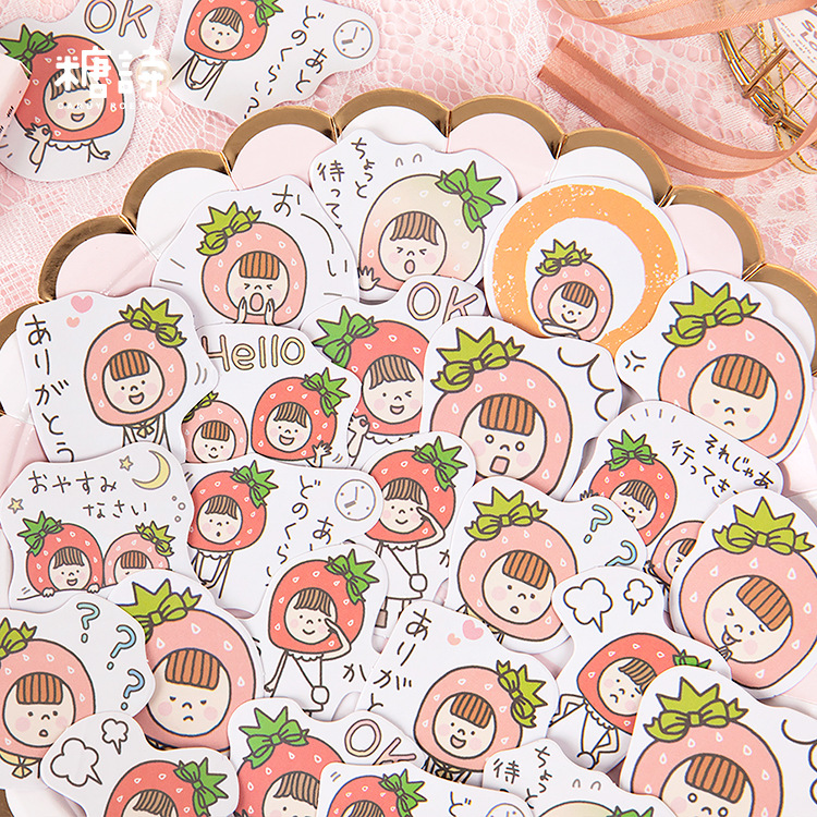 45pcs/pack Cute Strawberry Stationery Stickers Sealing Label Travel Sticker Diy Scrapbooking Diary Planner Albums Decorations
