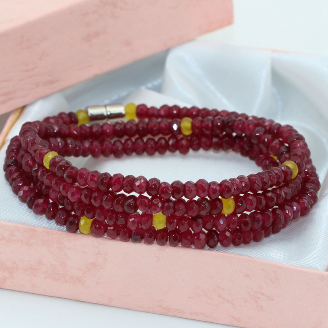 Long bracelets 2*4mm red jade jasper abacus faceted 4 rows multilayer for women magnetic clasps elegant gifts diy jewelry B2768