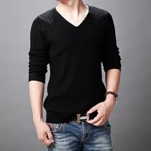 Мужской пуловер, зимние свитера, брендовый мужской однотонный пуловер, свитер в Корейском стиле, облегающий трикотаж, простые свитера с v-образным вырезом