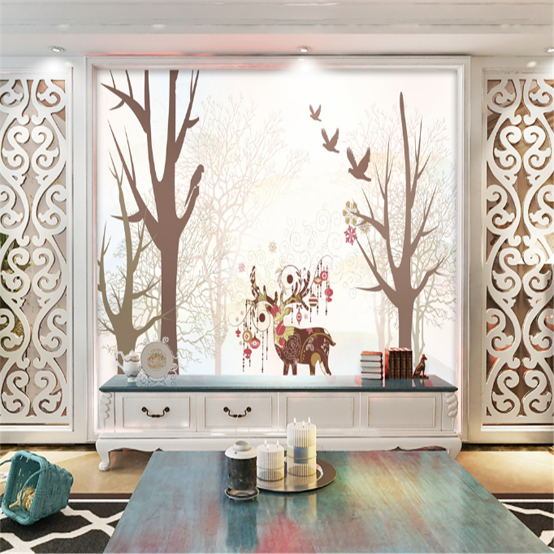 Custom Wall Mural Wallpaper Forest and Elk Minimalism Embossed Non-Woven Wall Modern Bedroom Wall Paper Roll for Living Room multicolor children room wall paper roll non woven vertical strip wallpapers for baby boy girls bedroom wall mural pink blue