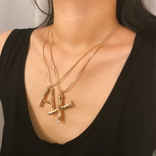 Fashion womens jewelry  Exaggerated lava geometry Necklace simple letter personality short clavicle