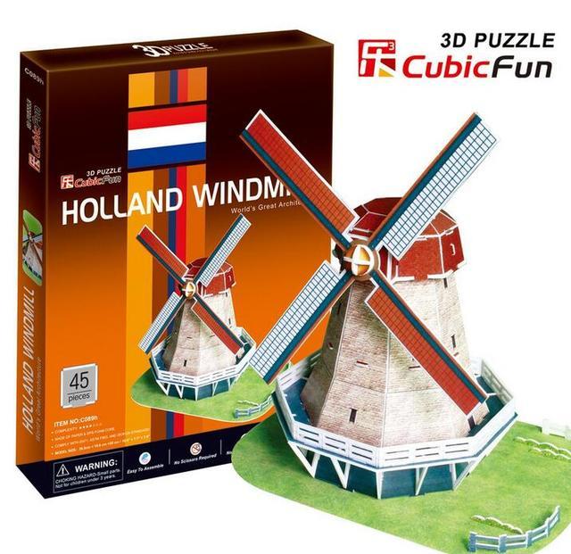 Medium Size Cubicfun 3D Paper Puzzle C089H Holland Windmill 45pcs 26.5*19.6*20CM Decorations