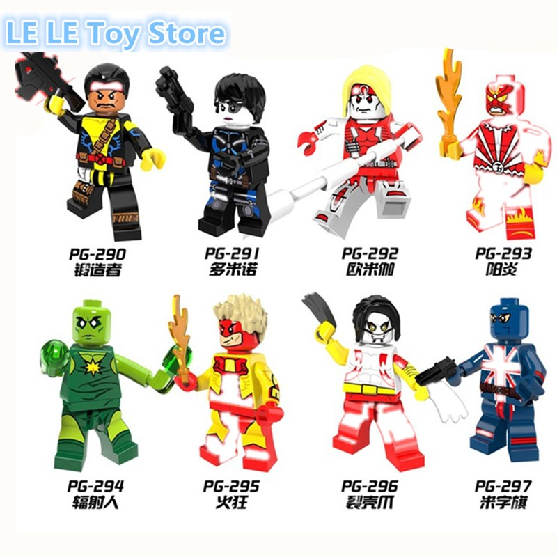 8pcs lot PG8082 Super Heroes Forge Pyro Domino Radioactive Man Union Jack Omega Building Blocks Christmas
