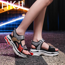 HKJL The 2019 summer sports new sandals female Korean fashion sequins all-match muffin thick bottom beach of Rome shoes A276 the beach boys rome