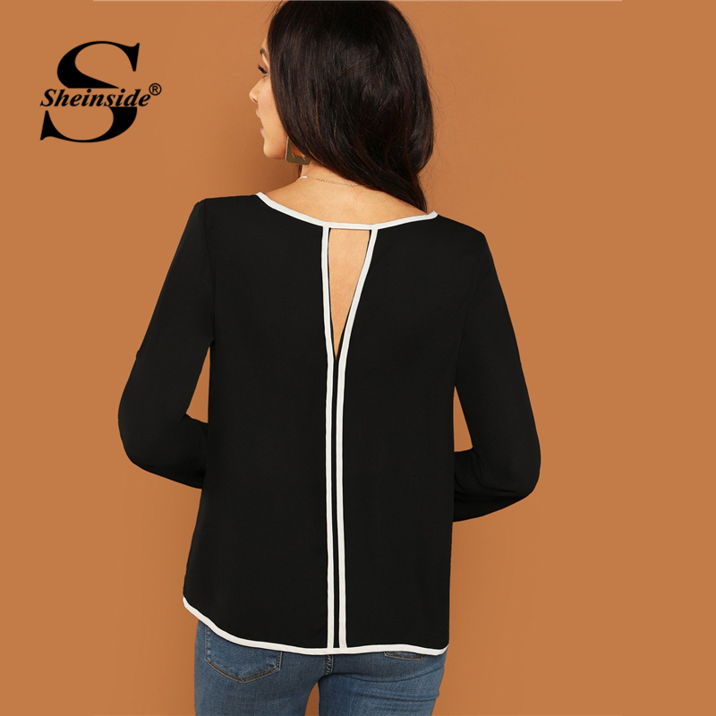 Sheinside Keyhole Back Contrast Binding Roll Up Long Sleeve Top Female Black   Blouse     Shirt   For Women Tops Ladies   Blouses   &   Shirts