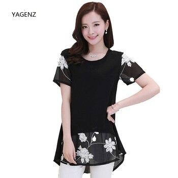 Nueva blusa de talla grande para mujer, Camisa larga de verano para mujer, Blusa de gasa de encaje, Camiseta con estampado Floral, camisetas holgadas con dobladillo Irregular, S-3XL