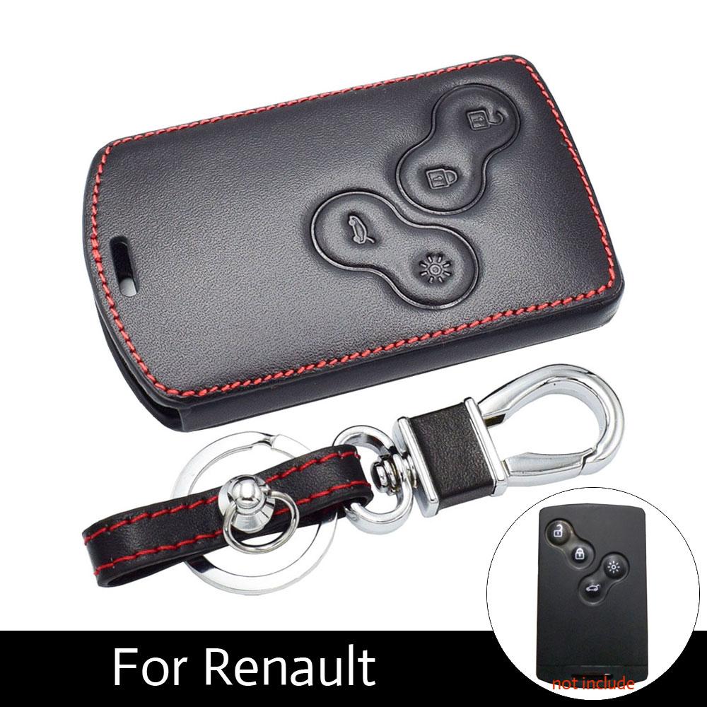 ATOBABI 4 Buttons Leather Key Case Cover Holder for Renault Koleos Laguna 2 3 Megane 1 2 3 Sandero Scenic Captur Clio Fluence replica renault fluence s145 6 5x16 5x114 3 d66 1 et47 s