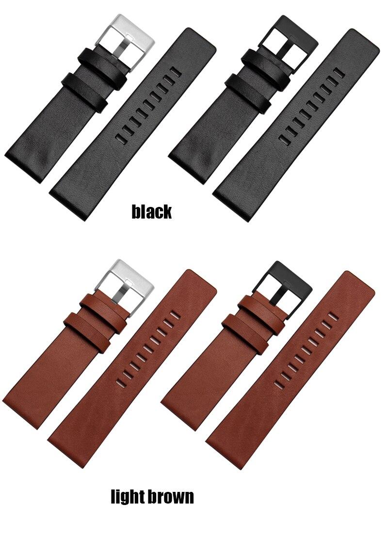 Moda pulseira de couro genuíno relógio masculino