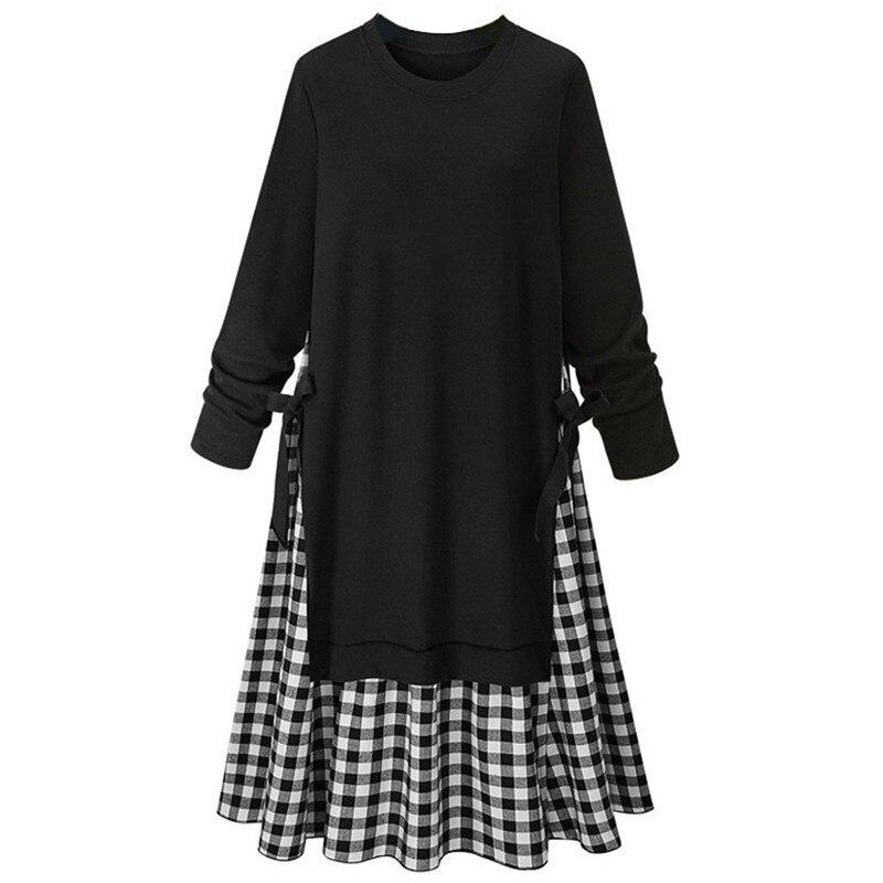LANMREM 2019 New Fashion Spring O-neck Black Full Sleeve Patchwork Plaid Hme Side Bandage Female's Big Size Dress Vestido YE595