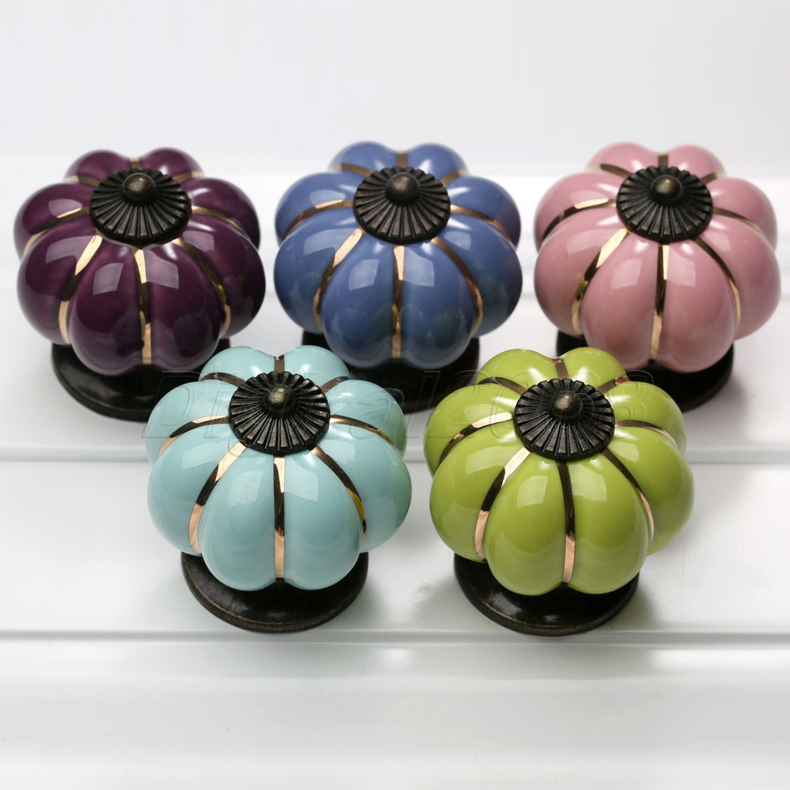 цены  High Quality Ceramic Colorful Handle Pull Knobs Cabinet Pumpkin Door Cupboard Drawer Locker Handles Knobs