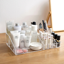 2018 New Korean Large Transparent Simple Desktop Cosmetics Storage Box Household Dresser Plastic Lipstick Rack