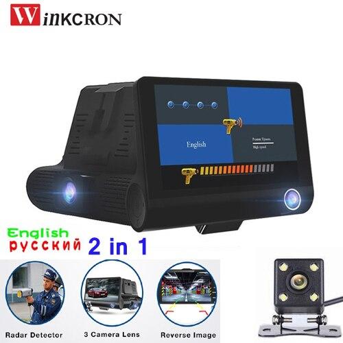 2 в 1 Автомобильный радар-детектор 4,0 камера-видеорегистратор с русским и английским Full HD 1080p Speedcam Анти радар-детектор Dash Cam три объектива
