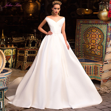 Julia Kui Off The Shoulder Lustrous Satin A-Line Wedding Dress  With Sweep Train