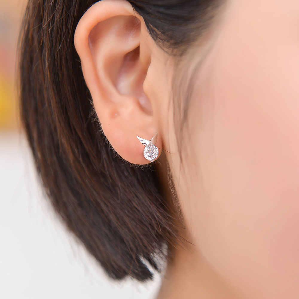 100% 925 スターリングシルバー星のスタッドのイヤリング Vnistar 天使の翼耳のスタッド卸売女性シルバー流星スタッドピアス