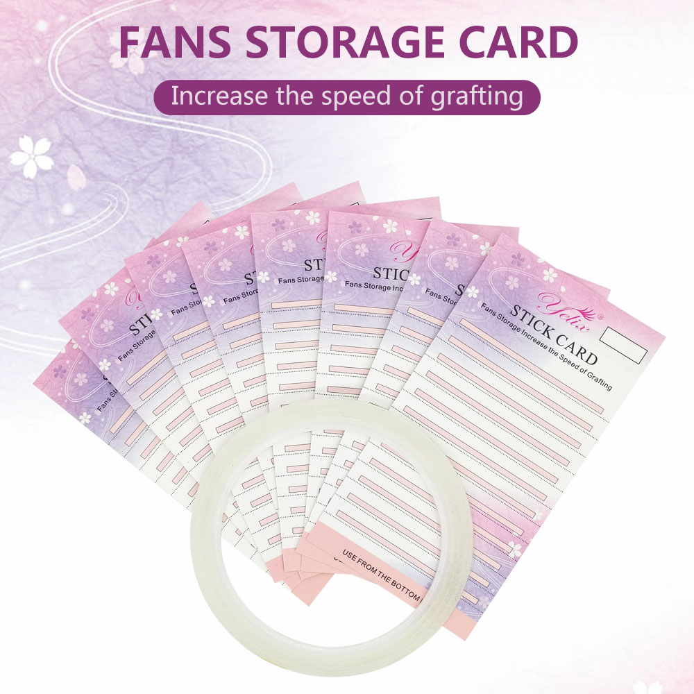 10pcs Premade Fans Eyelash Storage Card For Eyelash Extension Volume Lashes Storage Paper 2mm Sticky Strip False Eyelashes Card