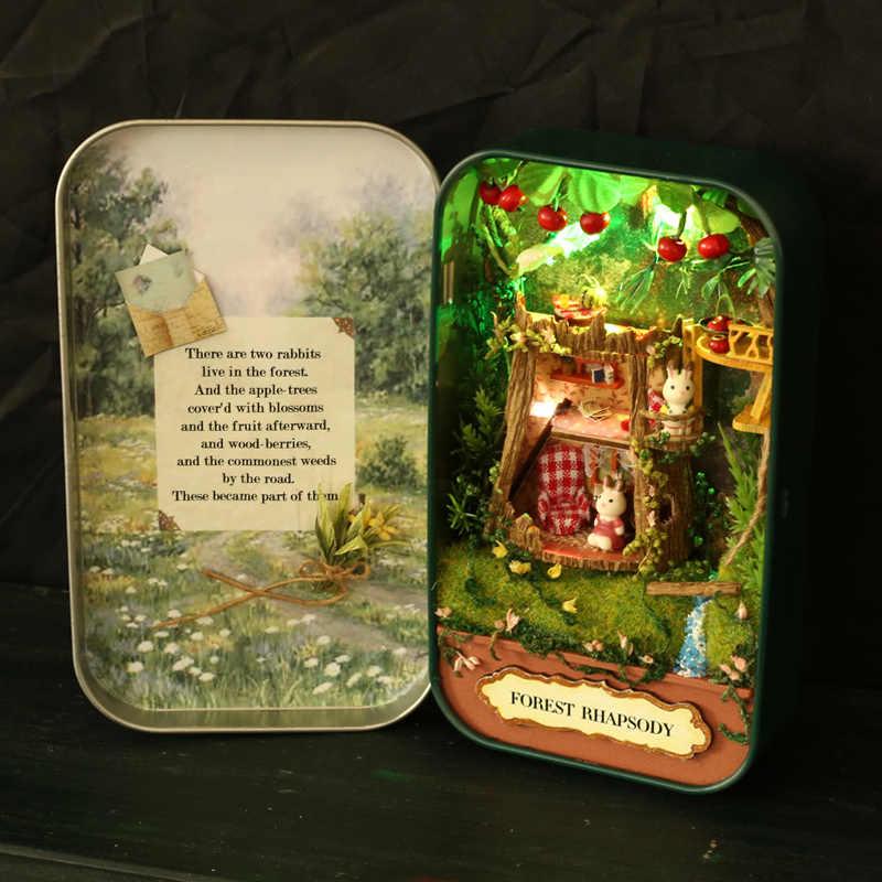 צעצוע תיבת DIY בית בובות בית בובות תיאטרון Rhapsody יער טבעי Miniatura סצנות 3D עץ ריהוט מיניאטורי נושא # Q001 E