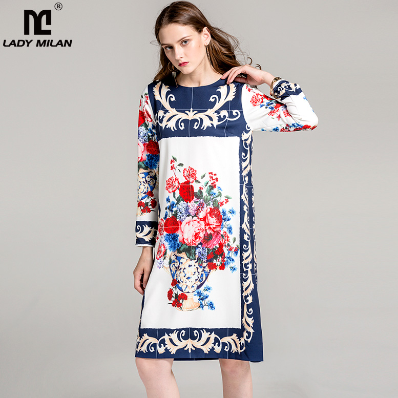 New Arrival 2018 Womens O Neck Long Sleeves Floral Printed Loose Design High Street Fashion Casual Dresses