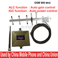 Trabalhar em mau sinal lugar CIG + ALC Auto Controle de Ganho 65dbi GSM impulsionador repetidor GSM, repetidor do telefone móvel w/antena metros de cabo