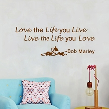 """""""Love the life you live…""""Bob Marley Quotes Vinyl Wall Sticker Large Size Home Wall Decals Living Room Decoration"""