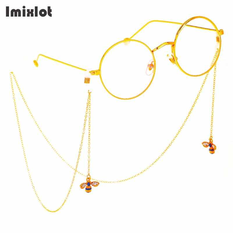 a06dc3b986 Rhinestone Bee Pendant Chain Gold Eyeglass Chains Reading Glasses Metal  Cords Sunglasses Spectacles Holders Optical Frames