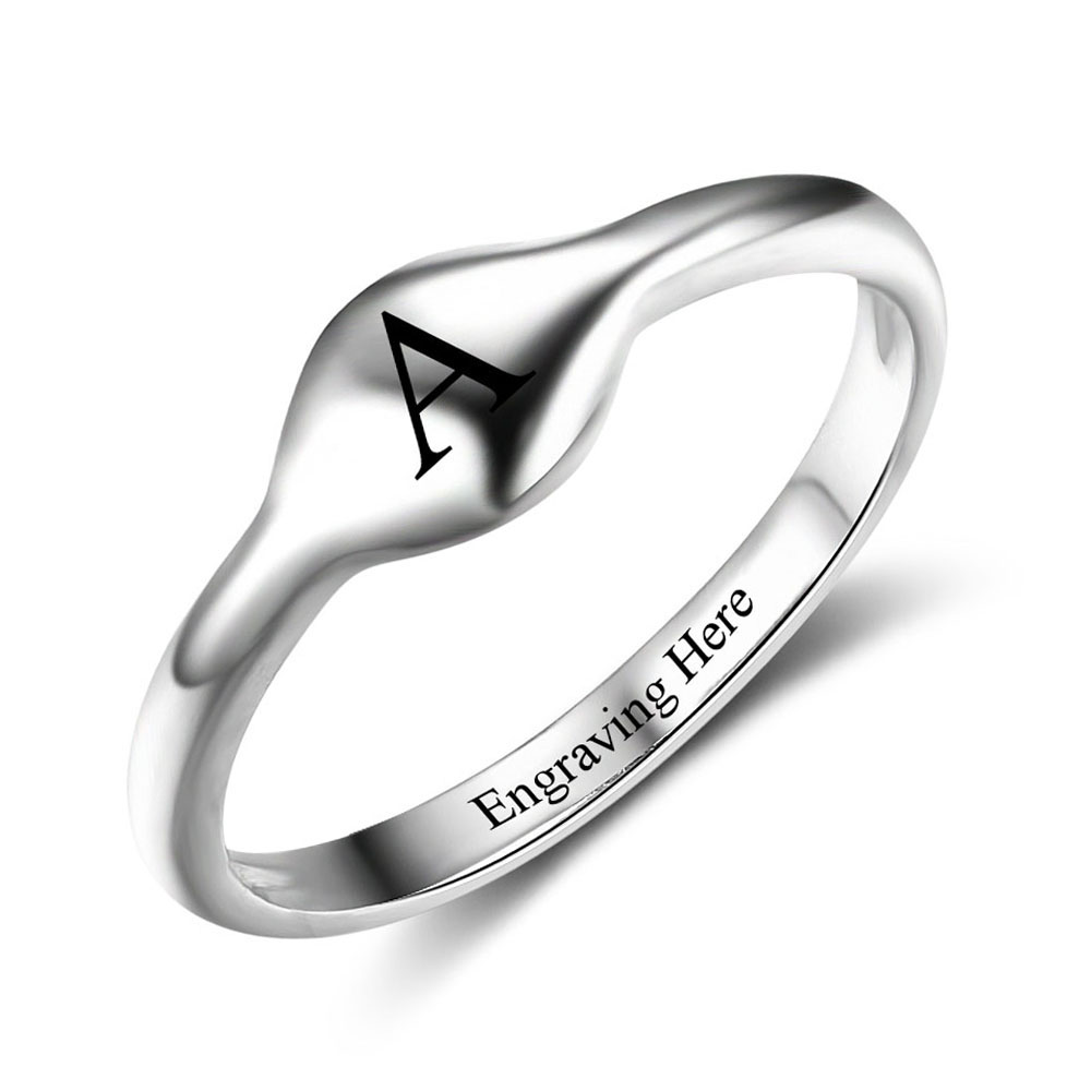 Custom 925 Sterling Silver Rings 1pc Personalized Initial Stackable Rings  For Women Party Rings Jewelry Gift (ri102512)