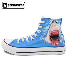 Sneakers Men Women Converse All Star Shark Original Design Custom Hand Painted Shoes Woman Man Christmas Gifts