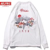 AELFRIC Fashion T shirts Man Women Animal Embroidery Fashion Harajuku Tee Shirt Autumn Winter Long Sleeve Casual T shirt KJ180