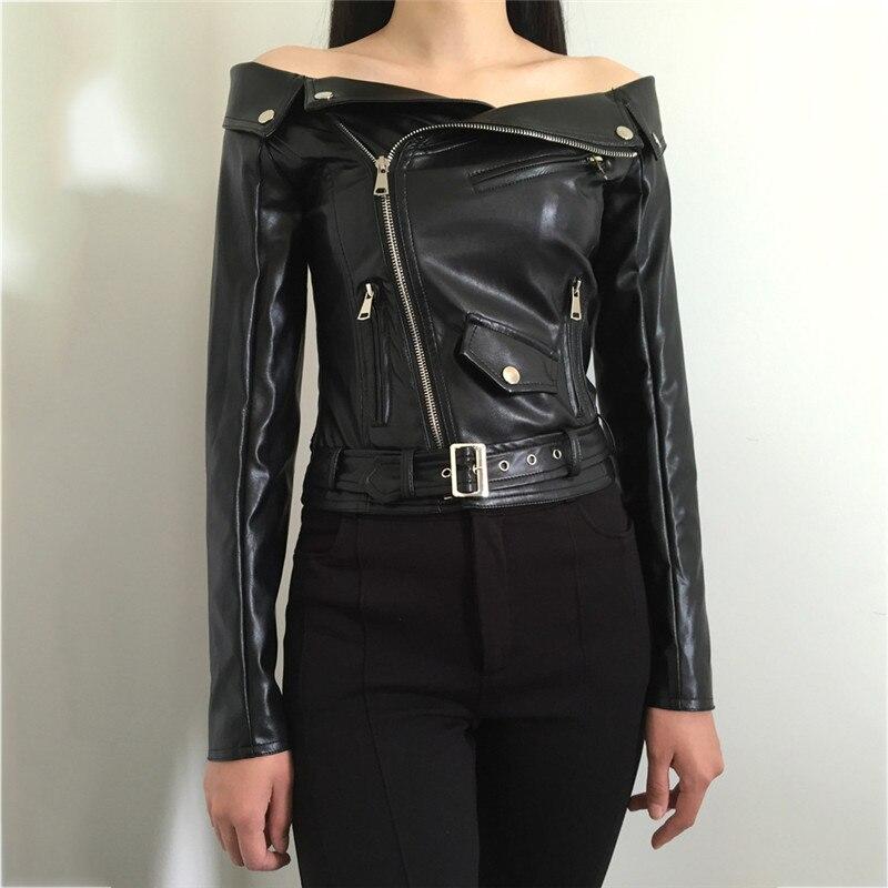 faux leather coat women black red slim PU coat autumn winter new long sleeve fashion short paragraph faux leather jacket LR378