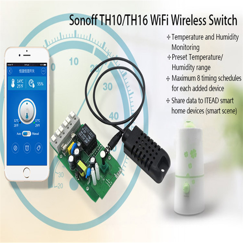 For Sonoff SI7021 Temperature And Humidity Sensor High Accuracy Black Support Smart Home Switch