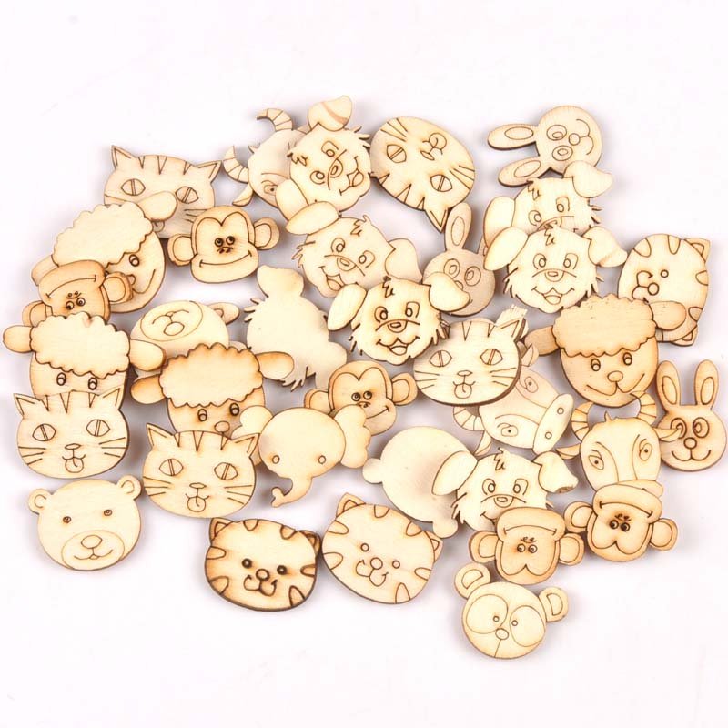 30pcs Mix Animal Pattern Natural Wooden Scrapbooking Carft For Home Decoration Diy Embellishment MT1901