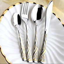 4Pcs/Set Cutlery Stainless Steel Flatware Colorful Cutlery Dinner Spoon Gold Plated Cutlery Sets Gold